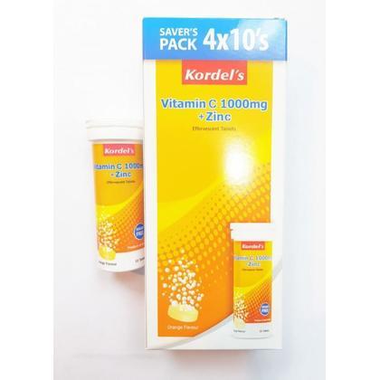 Kordel's Vitamin C 1000mg + Zinc (Saver's Pack 4 x 10's) Orange Flavour